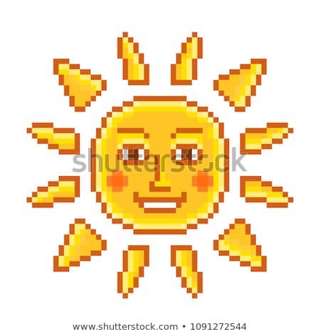 Stock photo: Sun tan logo- A face with a bright yellow sun