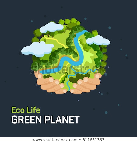 earth planet image with house on surface stock photo © cherezoff
