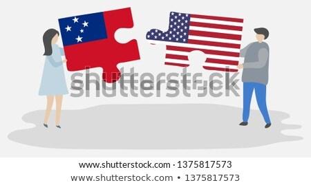 EUA Samoa bandeiras quebra-cabeça vetor imagem Foto stock © Istanbul2009