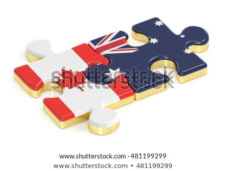 Avustralya · Kanada · bayraklar · bilmece · vektör · görüntü - stok fotoğraf © istanbul2009