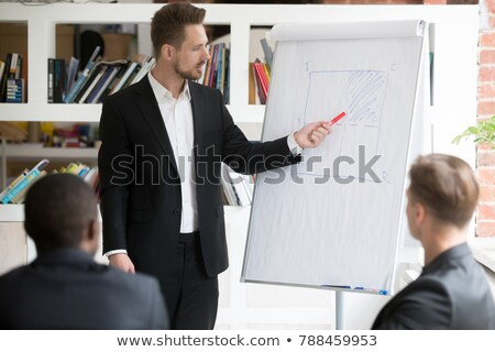 Stock fotó: Fókuszált · üzletember · áll · mutat · fehér · kéz