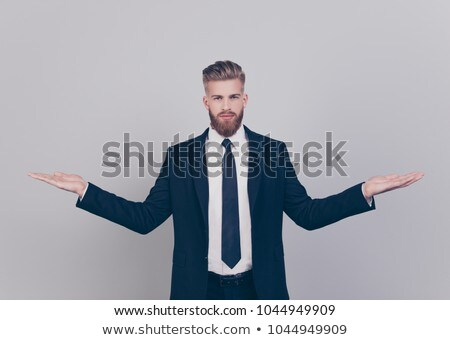 üzletember tart üres hely fehér izolált Stock fotó © cherezoff