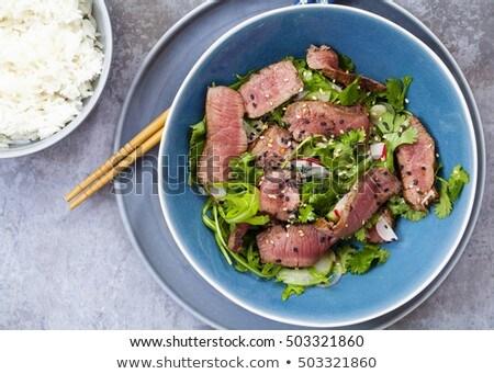 блюдо · говядины · риса · Салат · листьев - Сток-фото © vlad_star