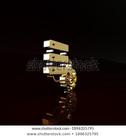 Karbantartás technológiák arany fogaskerekek 3D renderelt kép Stock fotó © tashatuvango