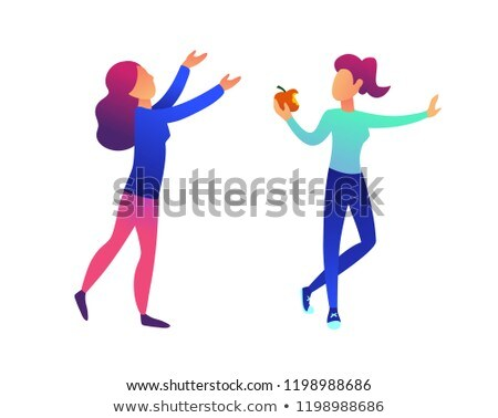 Woman eating an apple and another woman with hands up vector illustration. Stock photo © RAStudio