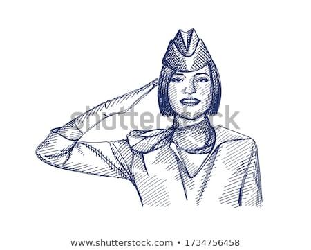lány · utaskíserő · egyenruha · üzlet · arc · háttér - stock fotó © robuart