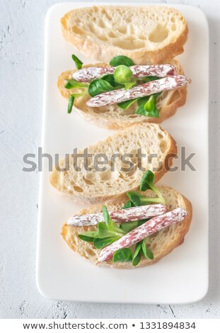 Sandwich with mini fuets on the white background Stock photo © Alex9500