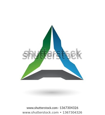 Green Blue and Black Spiked Triangle Vector Illustration Stock photo © cidepix