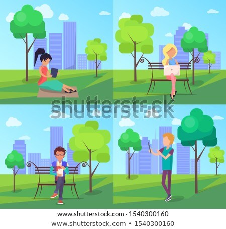 Urban Park Web Banner with People in Wi-Fi Zone Stock photo © robuart