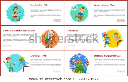 handcrafted gift conversation with santa vector stock photo © robuart