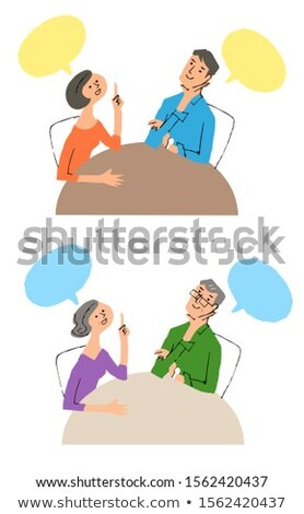 A couple propose with speech balloon Stock photo © colematt