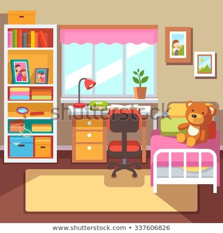 Kislány hálószoba könyv gyönyörű boldog gyermek Stock fotó © Lopolo