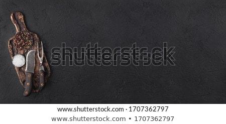 Bağbozumu çatal bıçak siyah tuz Stok fotoğraf © DenisMArt