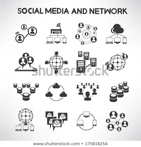 Data analytic and social network icons set Stock photo © ayaxmr