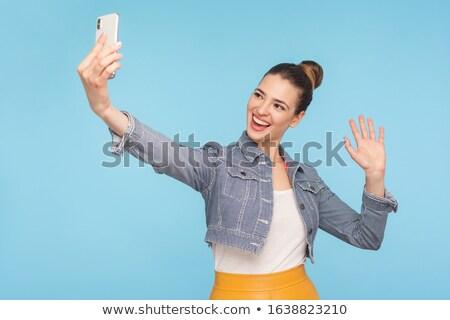 Kép boldog nő elvesz okostelefon integet Stock fotó © deandrobot