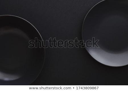üres tányérok fekete prémium edények ünnep Stock fotó © Anneleven