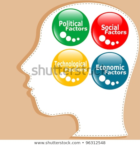 Stock photo: button PEST analysis concept icon in people head