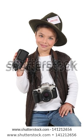 little girl dressed as a adventure reporter Stock photo © photography33
