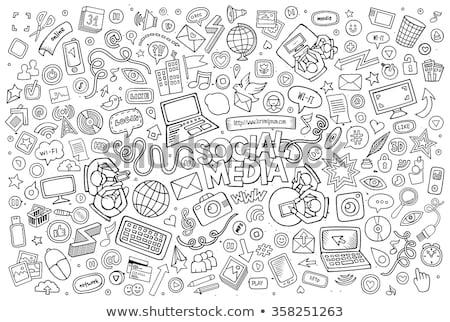 Vector Smart Phone Social Media Theme Stock photo © balabolka