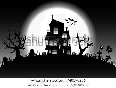 grungy halloween background with haunted house and pumpkin stock photo © jackybrown