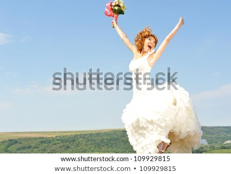Happy bride with roses Stock photo © gsermek