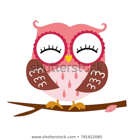 cute owl sitting on the tree branch valentines day postcard stock photo © jackybrown