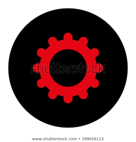 gear flat intensive red and black colors rounded button stock photo © ahasoft
