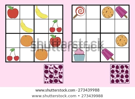 Childrens sudoku puzzle with sweets nuts and fruit Stock photo © adrian_n
