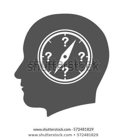 Bússola humanismo cabeça ícone pontos de interrogação pesquisar Foto stock © adrian_n