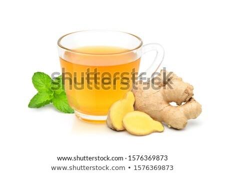 Foto stock: Taza · jengibre · taza · de · té · té · limón · frescos
