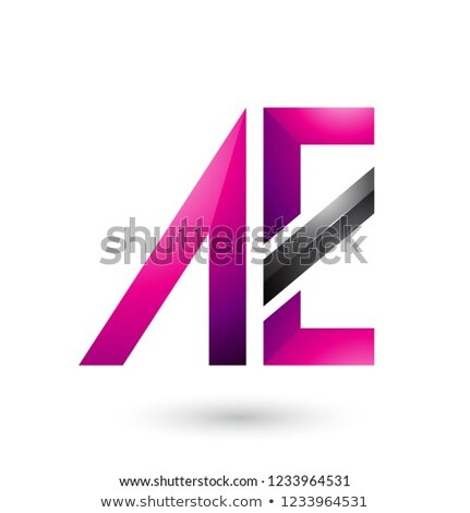 Magenta and Black Geometrical Dual Letters of A and E Vector Ill Stock photo © cidepix