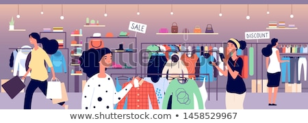 Female Shopaholic Shopping in Shoes Store Vector Stock photo © robuart