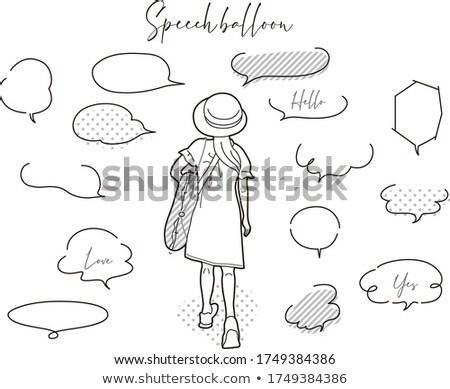 Stock fotó: Girls With Speech Balloon
