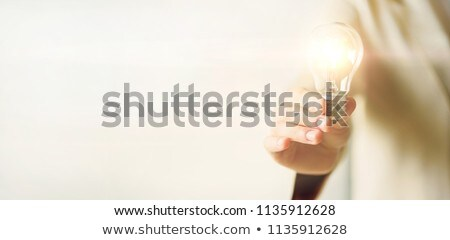 Business Idea, Woman Holding Lightbulb in Hands Stock fotó © robuart