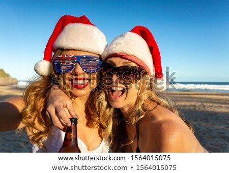 Australians reveling on beach at Christmas time Stock photo © lovleah