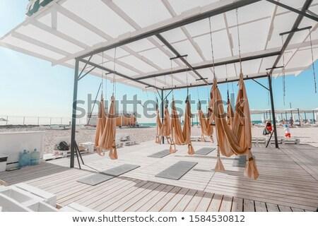 Outdoor sport strand yoga hout vrouwen Stockfoto © ElenaBatkova