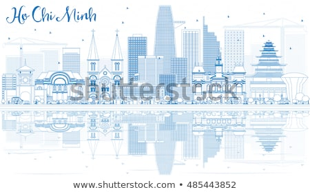 Outline Ho Chi Minh Skyline with Blue Buildings. Stock photo © ShustrikS