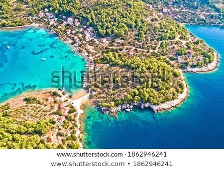 Sziget légifelvétel vitorlázik öböl szigetvilág tengerpart Stock fotó © xbrchx