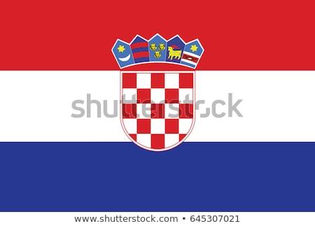 Horvátország zászló fehér felirat utazás szövet Stock fotó © butenkow