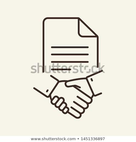 Handshake travaux contrat icône vecteur Photo stock © pikepicture