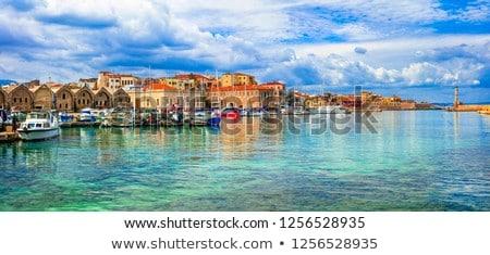 Lighthouse in old port of Chania, Crete island, Greece Stock photo © dmitry_rukhlenko