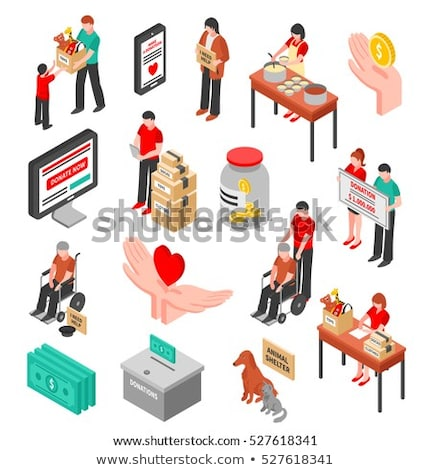 Volunteers Support Food Box isometric icon vector illustration Stock photo © pikepicture
