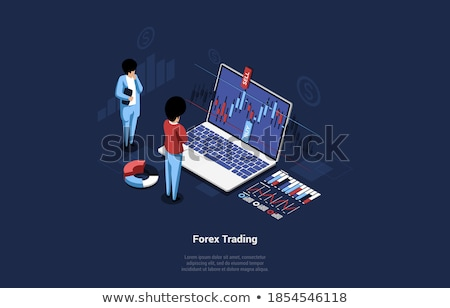 Statistics of Trades on Big Screen, Cartoon People Stock photo © robuart