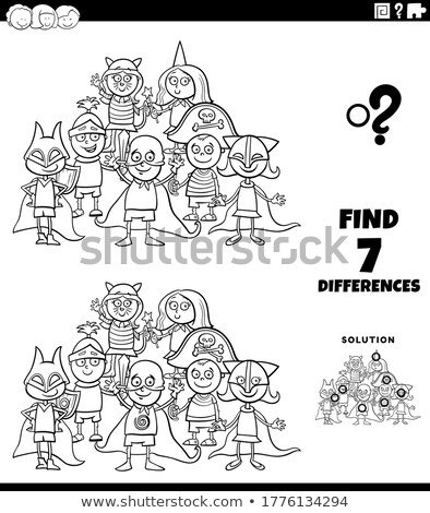 differences task with kids at costume party color book page Stock photo © izakowski