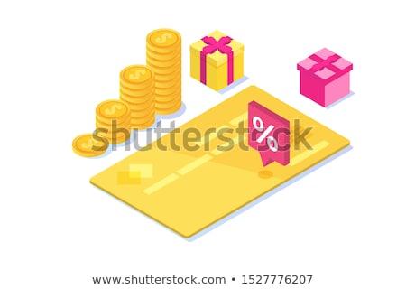 Crédit pourcentage carte isométrique icône vecteur Photo stock © pikepicture