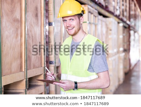 Portrait white caucasian worker with tablet in distribution ware Stock photo © vichie81