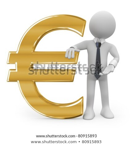 3d Man Leaning On An Euro Sign Stockfoto © Texelart