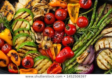 Saláta pörkölt gombák szója zöld kövér Stock fotó © fanfo