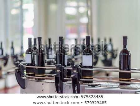 Stock photo: wine bottles on the conveyor