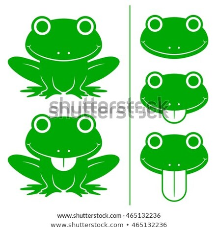 Set of green cartoon frogs with head variations Stock photo © adrian_n